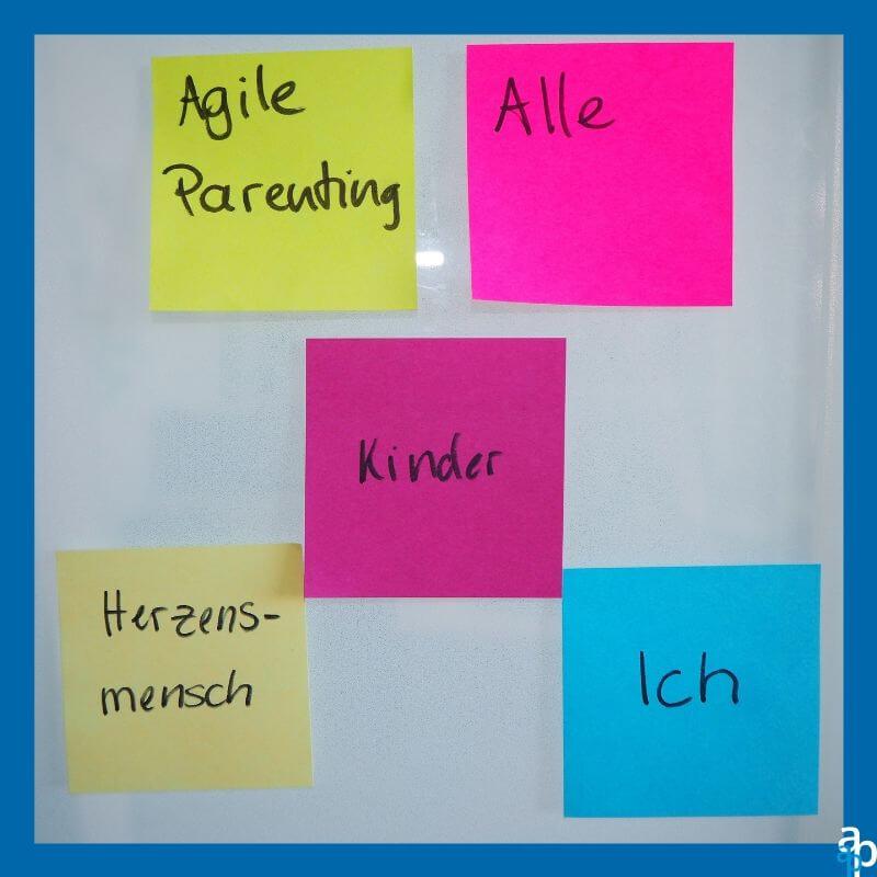 5 verschiedenfarbige Post-Its mit den folgenden Inhalten: Agile Parenting, Alle, Kinder, Herzensmensch, Ich