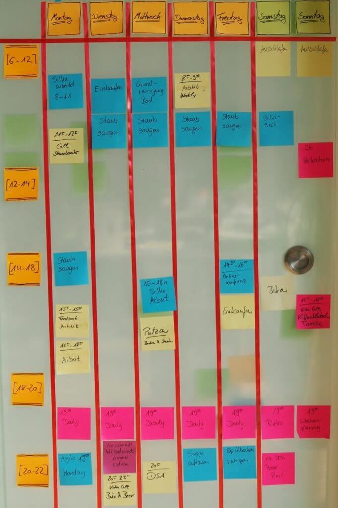 Wochenplan aus Post-Its für alle 7 Wochentage mit mehreren Zeitblöcken pro Tag
