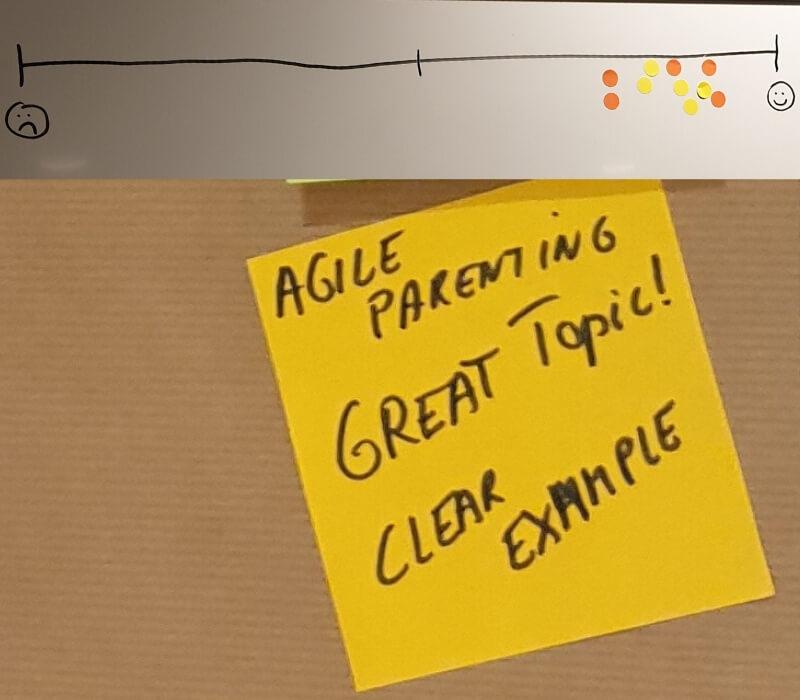 """Feedback für Agile Parenting: 1. Balken von traurigem Smiley bis lachendem Smiley, die Punkte befinden sich alle im oberen Viertel; 2. Feedback-Post-It: """"Agile Parenting. Great Topic! Clear Example"""""""