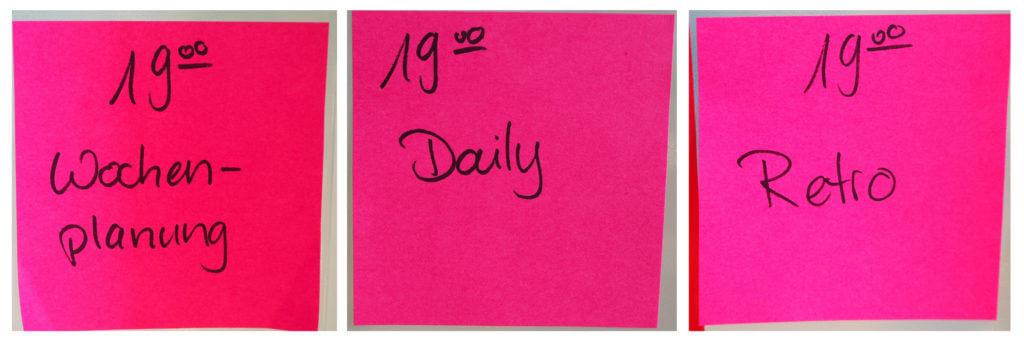 3 Post-Its mit den Worten Wochenplanung, Daily und Retro, jeweils um 19h